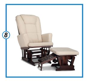 Graco Sterling Cleanable Upholstered Comfort Rocking Nursery Chair with Ottoman-min