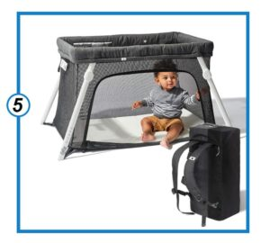 Lotus Travel Crib Comfy Baby Bed - Backpack Portable, Easy to Pack Play-Yard - Certified Baby Safe-min