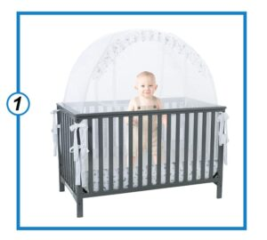 Premium Infant Baby Bed with Mesh Nursery Mosquito Crib Tent Net - Protect Baby from Falls or Bites-min