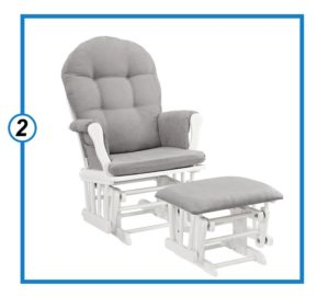 Windsor Glider and Ottoman, White with Gray Cushion-min
