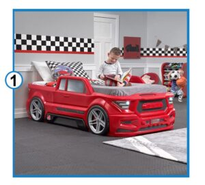 Step2 Turbocharged Twin Truck Kids Bed, Red-min